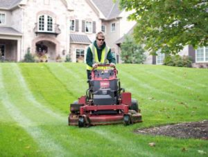 mowing a lawn and cutting the grass for a customer in scituate ma